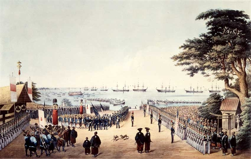 This image shows a group of people meeting at a port. It represents American Commodore Matthew Perry's arrival at Yokohama.