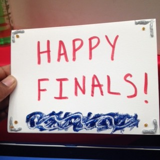 "Picture of handmade card reading ""happy finals"""