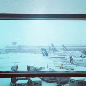 From inside an airport terminal, looking outside at Westjet planes covered  by the heavy snowfall