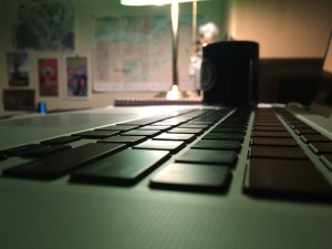A close-up view of a Mac laptop keyboard