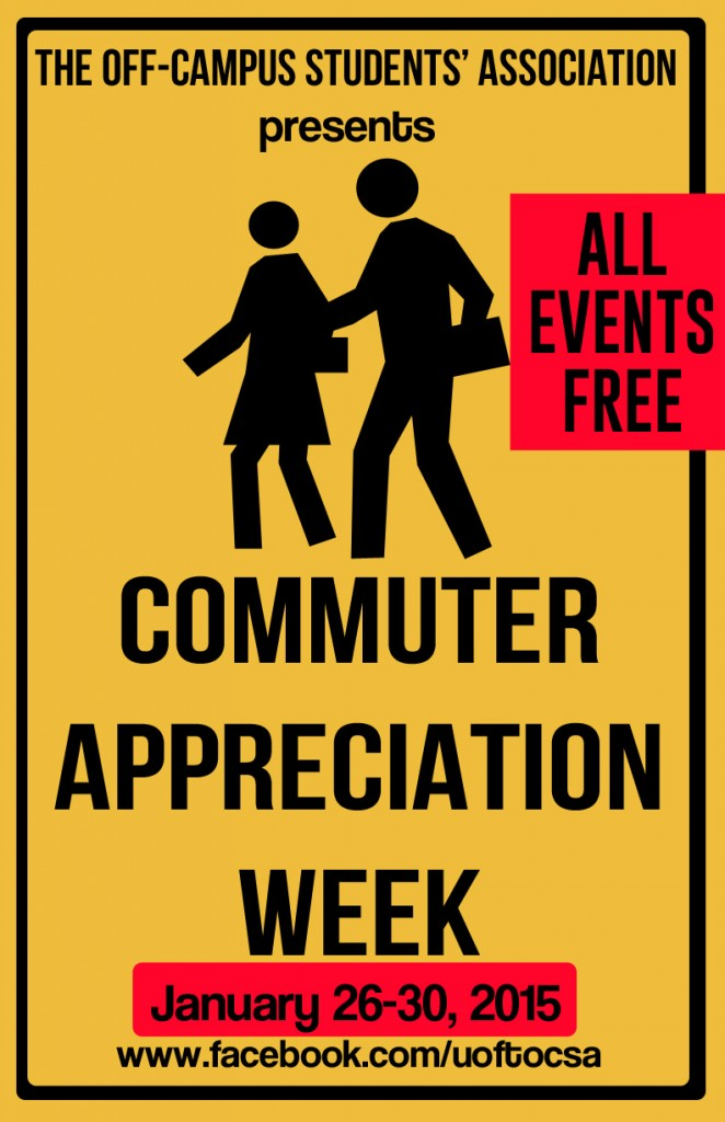 Our poster for Commuter Appreciation Week.  It starts this week! It's a very pretty yellow poster with some impact lettering!