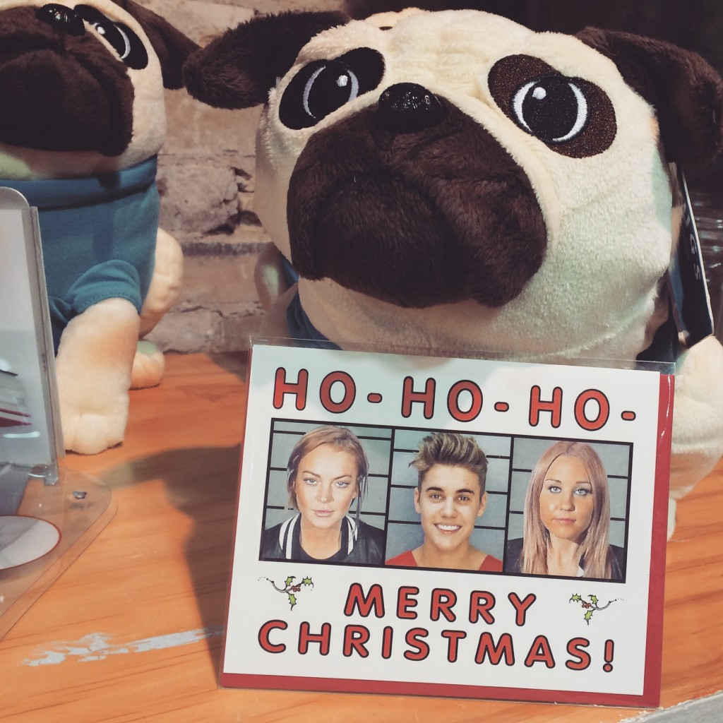"A picture of a plushy dog. There is a Christmas card in front of it that says ""Ho! Ho! Ho! Merry Christmas!"" with images of celebrity D.U.I.'s."