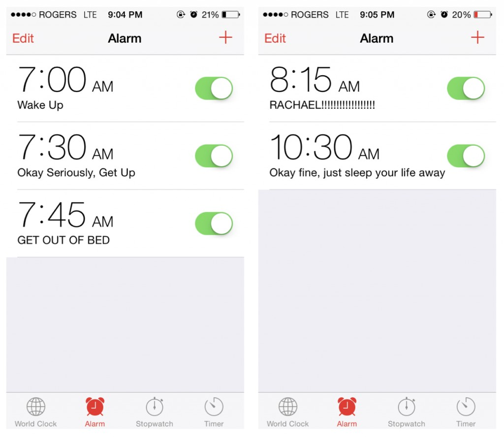 Photos of pre-set alarms starting at 7am and ending at 10:30am