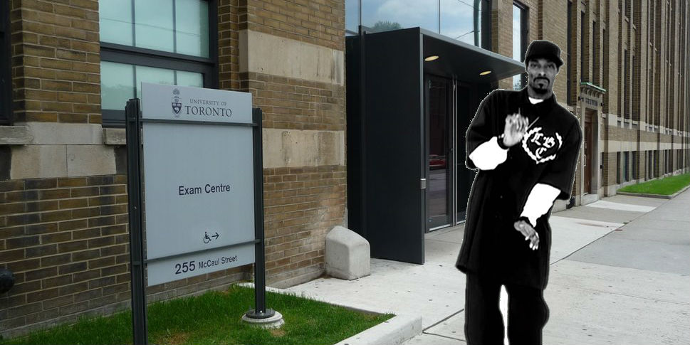 A photo of the outside of the exam centre with, you guessed it: Snoop Dog photoshopped in front.