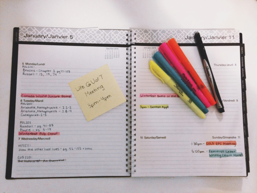 Picture of a student agenda with colour-coded events and lists
