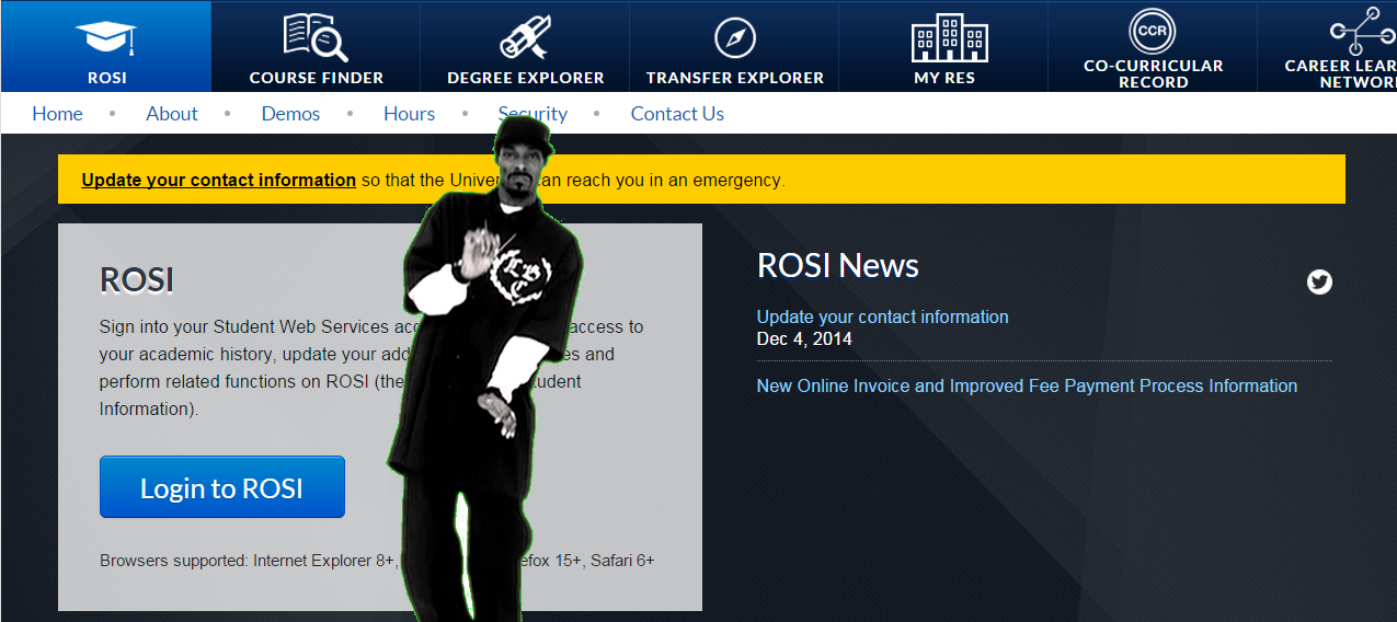 I photoshopped a picture of Snoop Dog dancing in front of the load screen of the ROSI website.