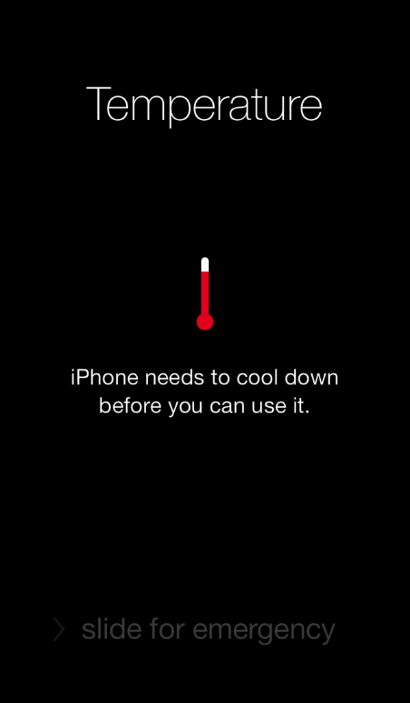 "Screenshot of an iphone screen that reads ""iphone needs to cool down before you can use it"""