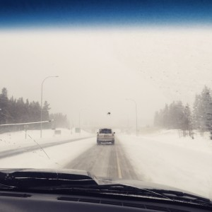 Looking forward form the passenger seat in a truck, with almost no visibility from all the snow