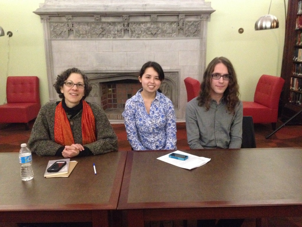 A photo of Ronna Bloom, Laura Ritland, and Adam Zachery seated at the panel.