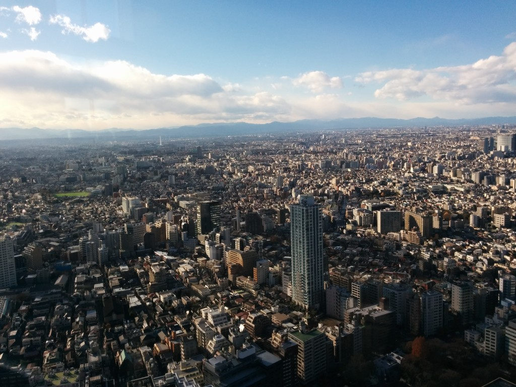 This image shows a view of Tokyo, looking West from Shinjuku.