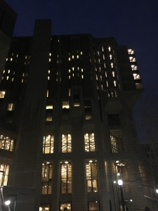 Looking up at Robarts, with it's windows lit up against the night sky