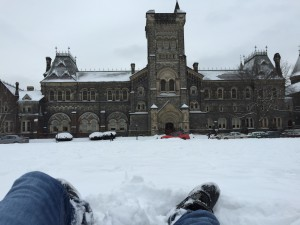 From my point of view while lying in the snow, looking at the main University College building