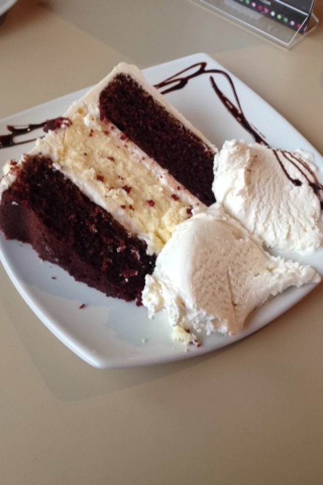 Picture of cake and ice cream