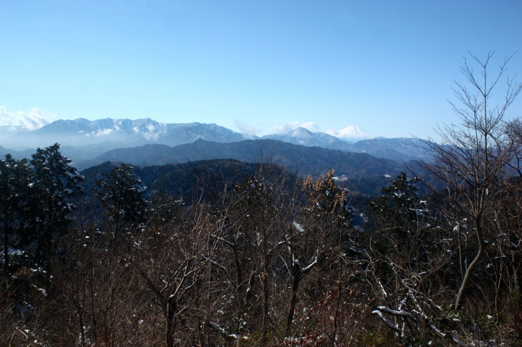 This image shows a view of forested mountains from the top of Mount Takao. Mount Fuji can be seen in the distance in the right side of the image.