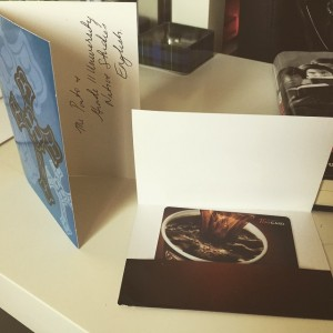 A blue thank-you card with a Tim-Hortons gift card just begging to be spent