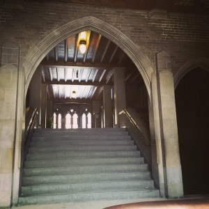 A Hart House stairway with it's Hogwarts style, surrounded by shadows