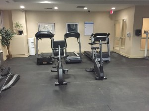 A row of treadmills and stationary bikes