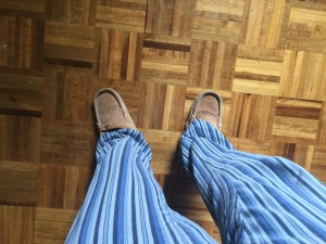 From my perspective, looking down at the pyjamas and moccasins I'm wearing