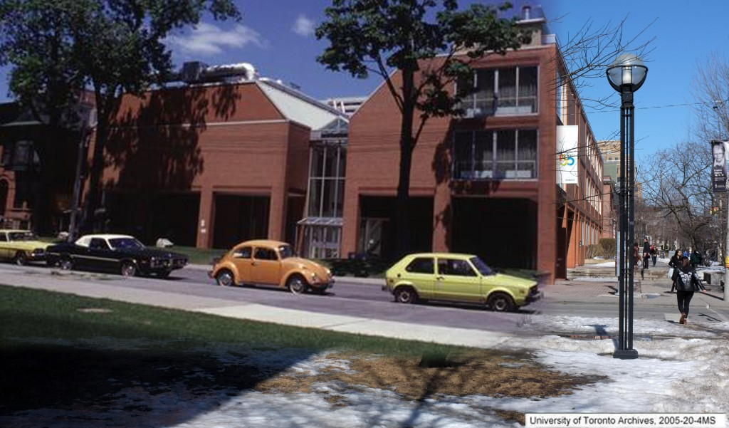 an old photo (1950s?) showing the side of Innis and old cars is on top of a modern picture of inns
