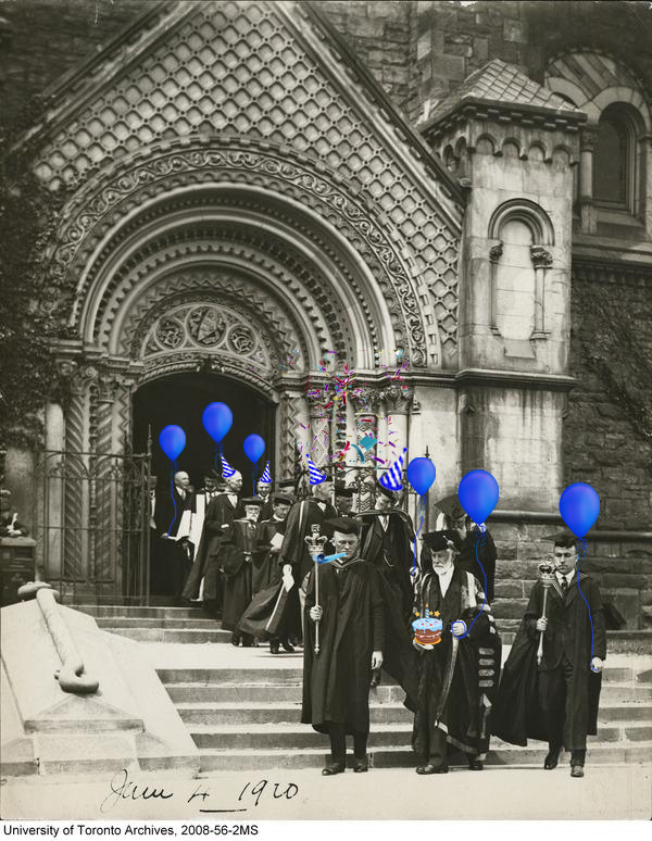 an old picture of people emerging from UC with graduation caps, baloons and other party supplies have been photoshopped in
