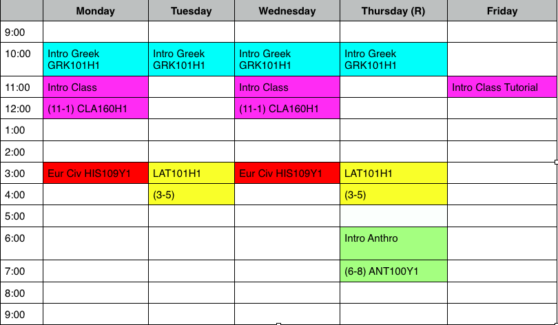 a timetable made in word with classes blocked in and colour coded