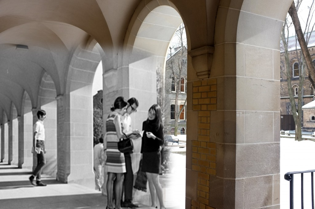students from the 60s or70s hang out in the UC Quad under the arches, superimposed on a modern picture of the quad