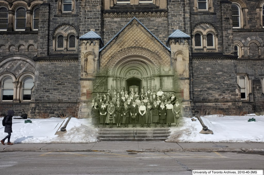 a black and white photo of an old nursing class on the steps of the main UC building superimposed onto a picture of UC today