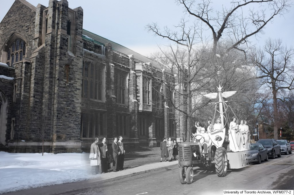 a float for medicine is shown passing in front of Knox college, this is superimposed on a current picture of knox