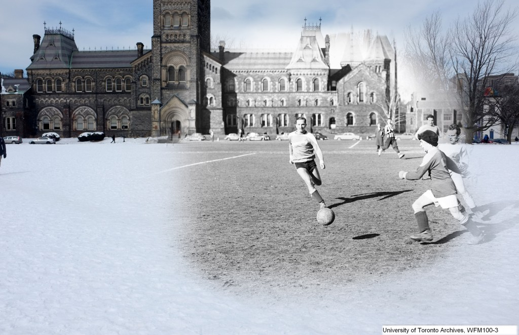 a black and white photo of men playing soccer on top of a modern picture of front campus, UC is in the background