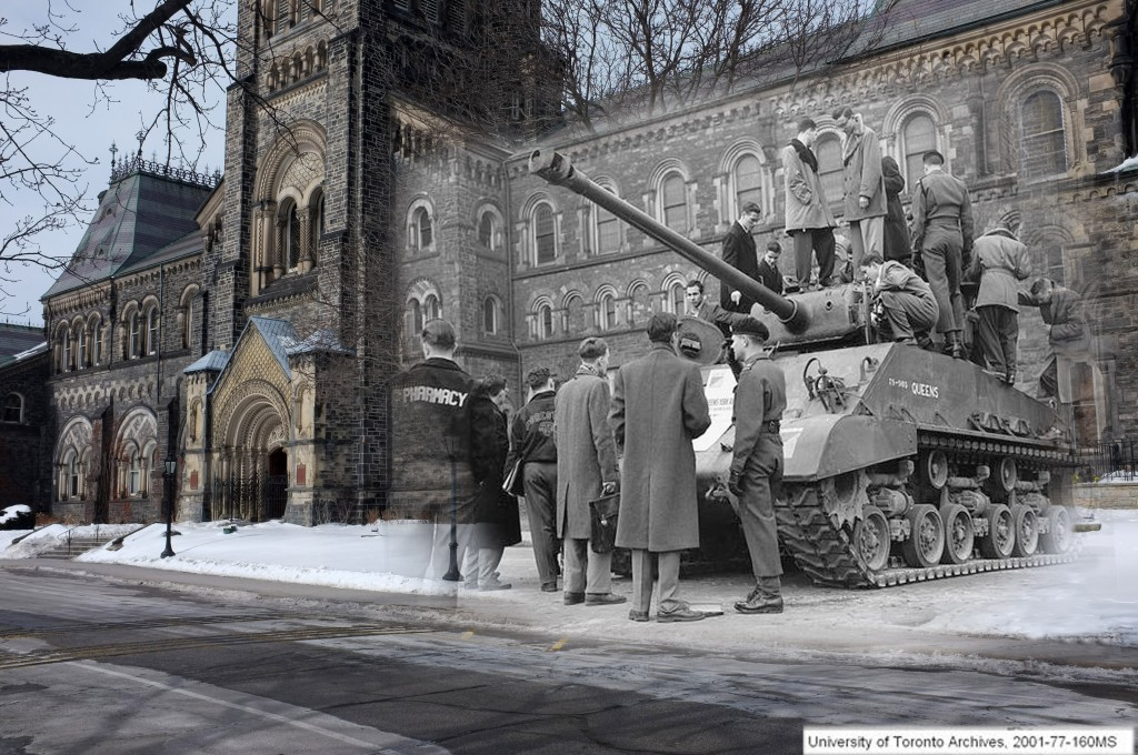 a black and white image of a tank(!!) with students on it sits in front of UC, superimposed on a current image of UC