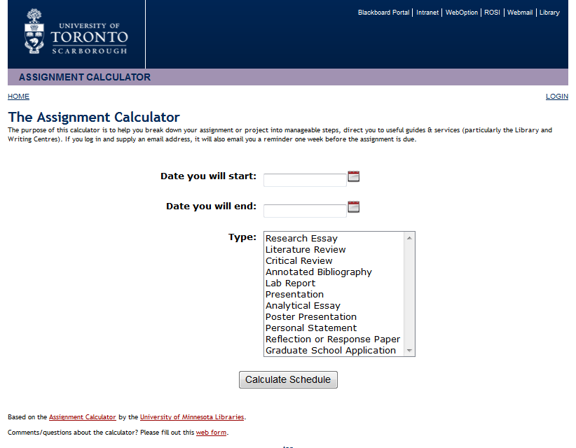 Screenshot of UTSC Assignment Calculator