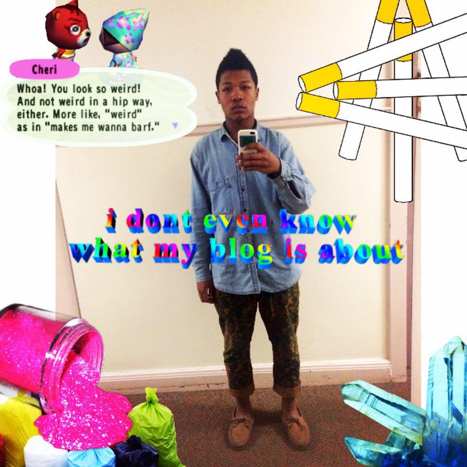 """A picture of me taking a selfie. It's been edited with stickers. Stickers include a giant crystal, glitter, garbage bags, and giant text. The text says """"I don't know what my blog is about"""" in rainbow. I am wearing cute camo pants, Sperry's, and a denim button-up. Fab."""