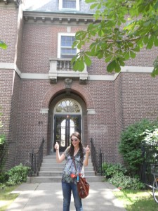 Thumbs up in front of Whitney Hall. You can't see it because of my sunglasses, but my eyes are gleaming with naive hopes for the future.
