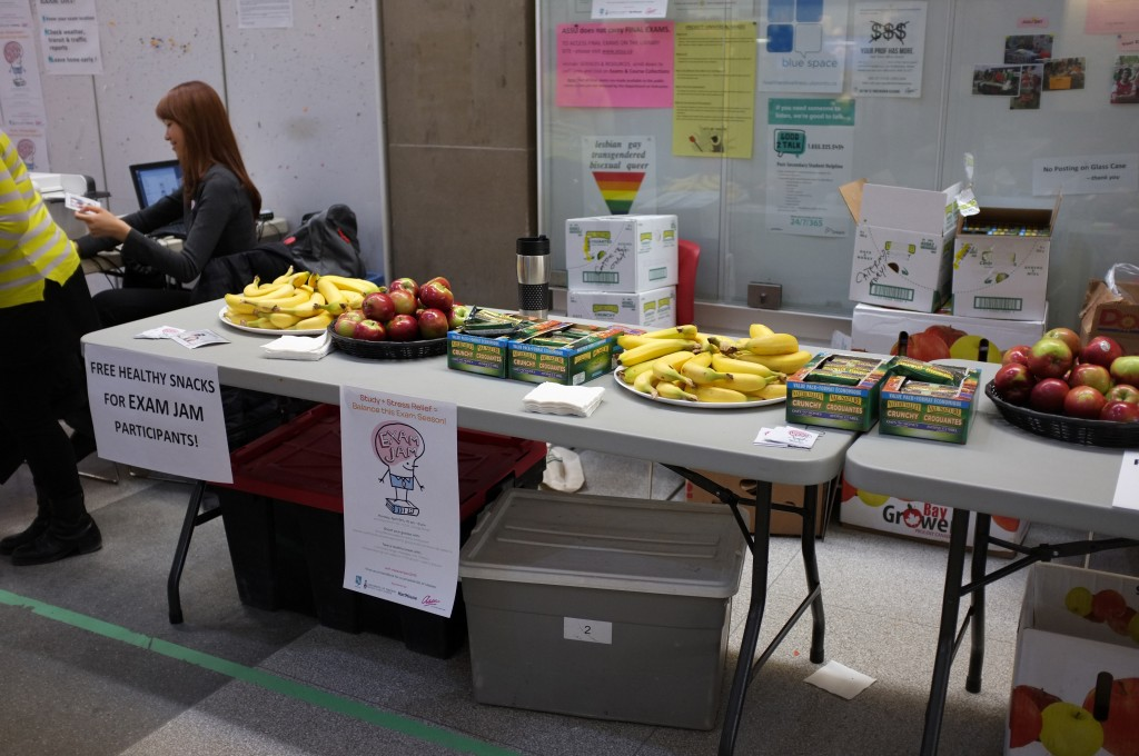a table full of healthy snacks like bananas and apples and granola bars