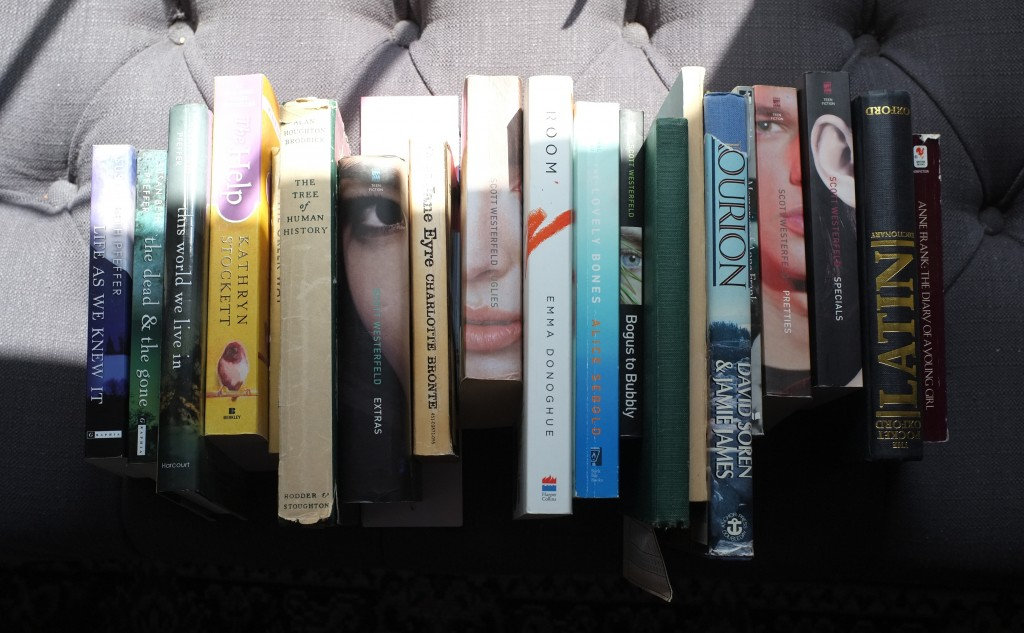 a roy of books, spines up on a bench