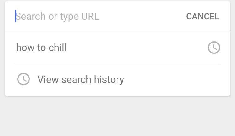 "Picture of a google search screen with ""how to chill""  typed into search bar"