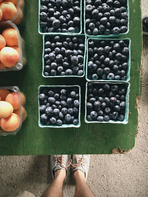 Fresh peaches and blueberries at Evergreen Brickworks Farmer's Market. I went there this weekend to pick up healthy, local groceries for the week. Photo via Sameer Vasta on Flickr.