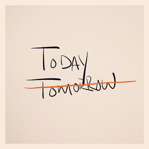 """The words """"today"""" and """"tomorrow,"""" with the word """"tomorrow"""" crossed out - there's no better time than now to get started with achieving your goals! Image by Chris Florence via Flickr."""