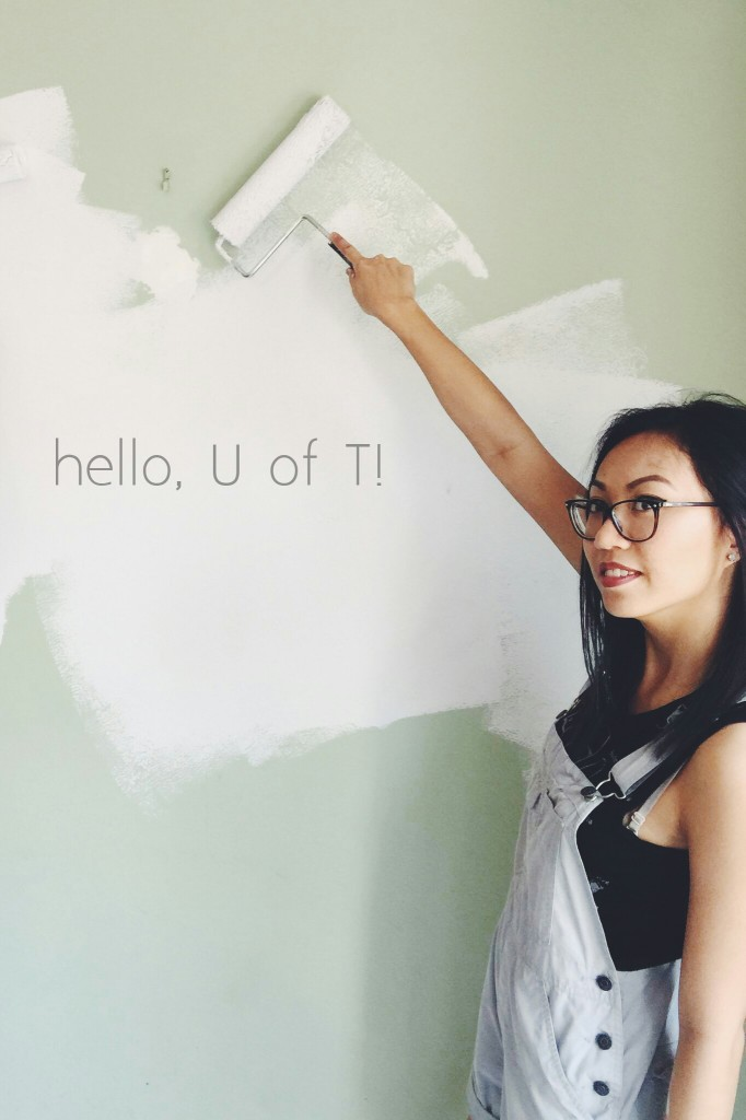"A picture of me, painting a wall. The phrase ""Hello, U of T!"" was edited into the paint."