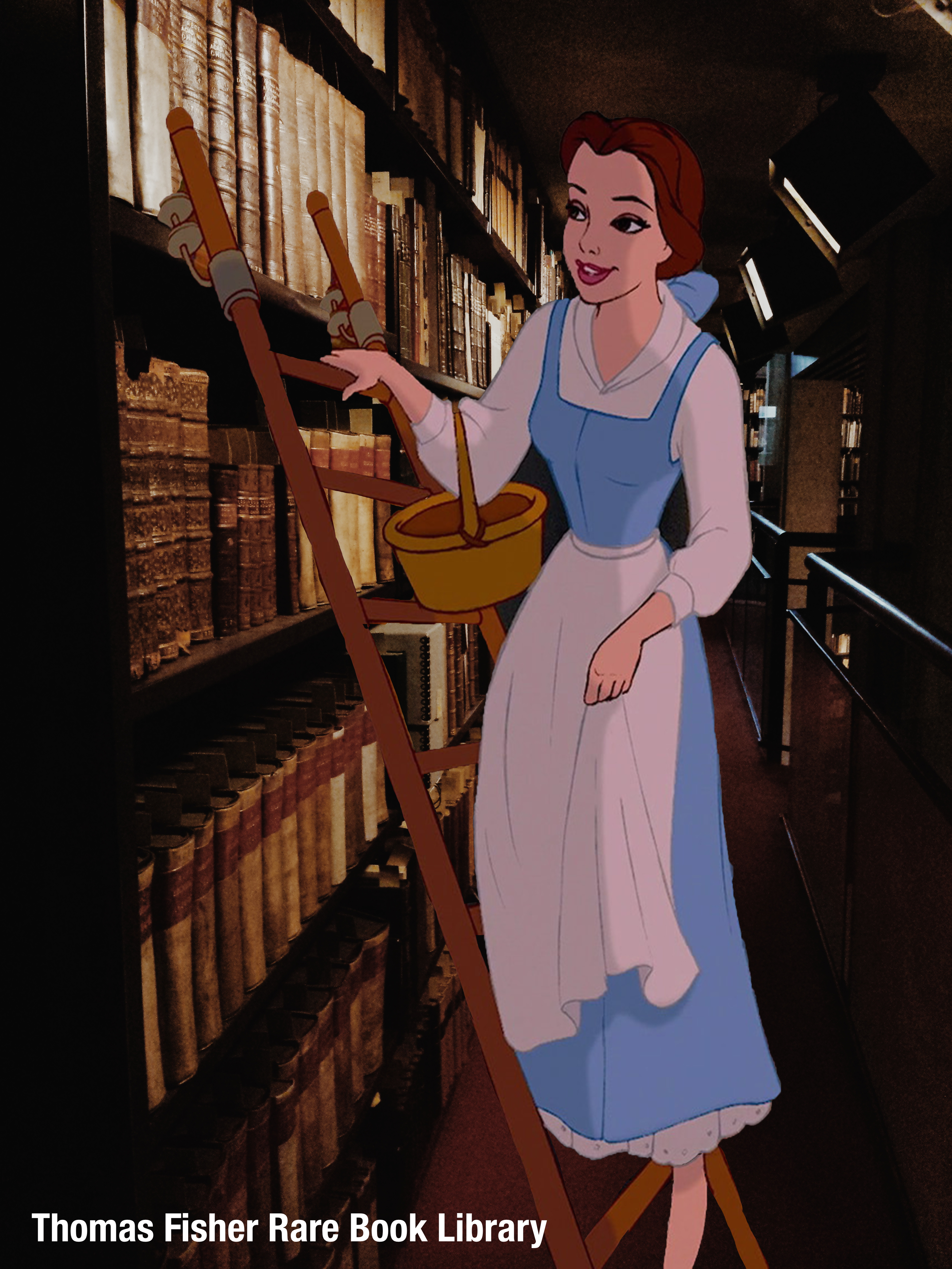 An old bookshelf in the Thomas Fisher Library. An image of Belle from Beauty and the Beast has been imposed on top. She is on a ladder looking through the books.