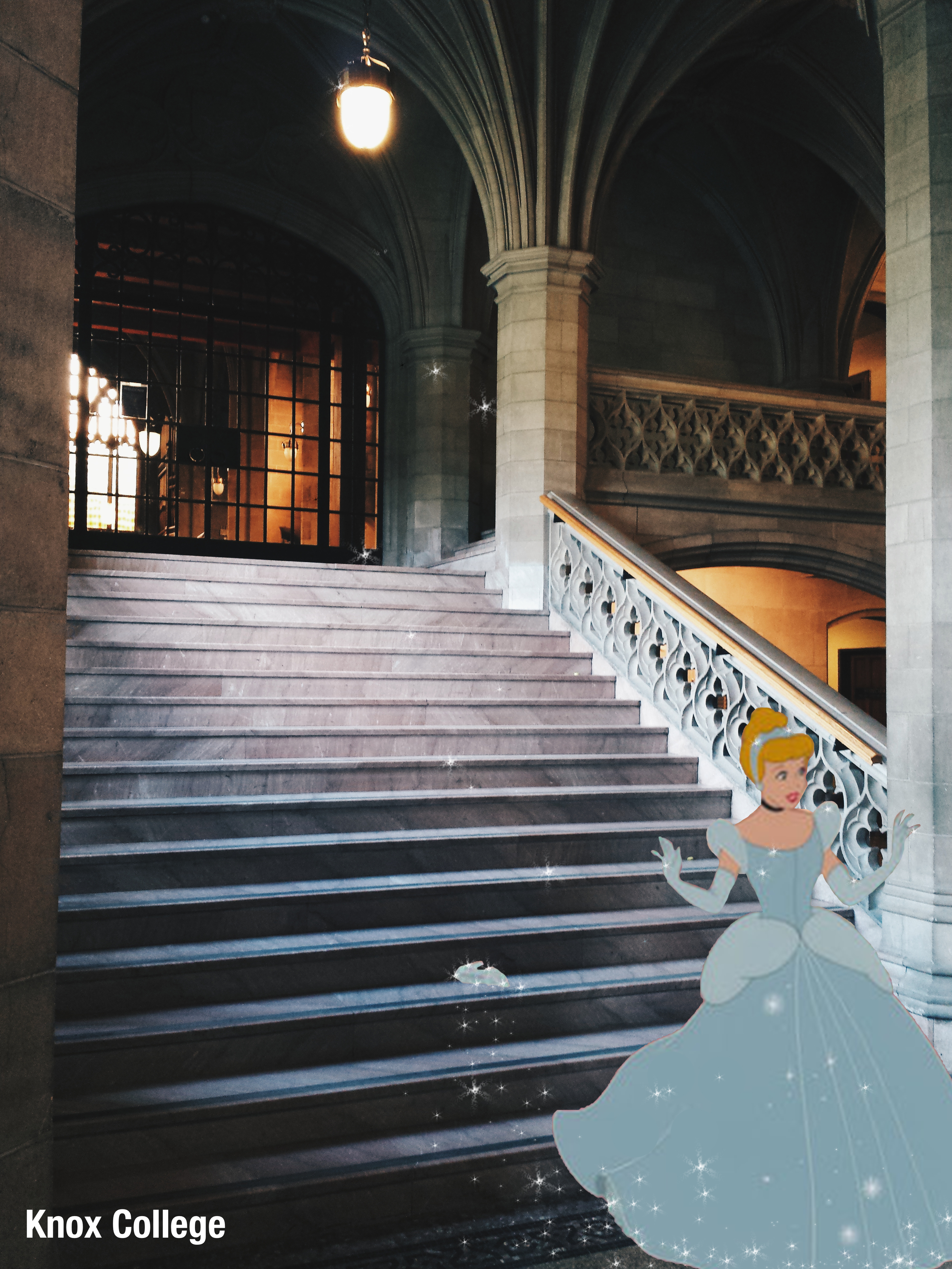 The Knox College staircase. An image of Cinderella was imposed over it, in the movie scene where she leaves the ball and her shoe behind.