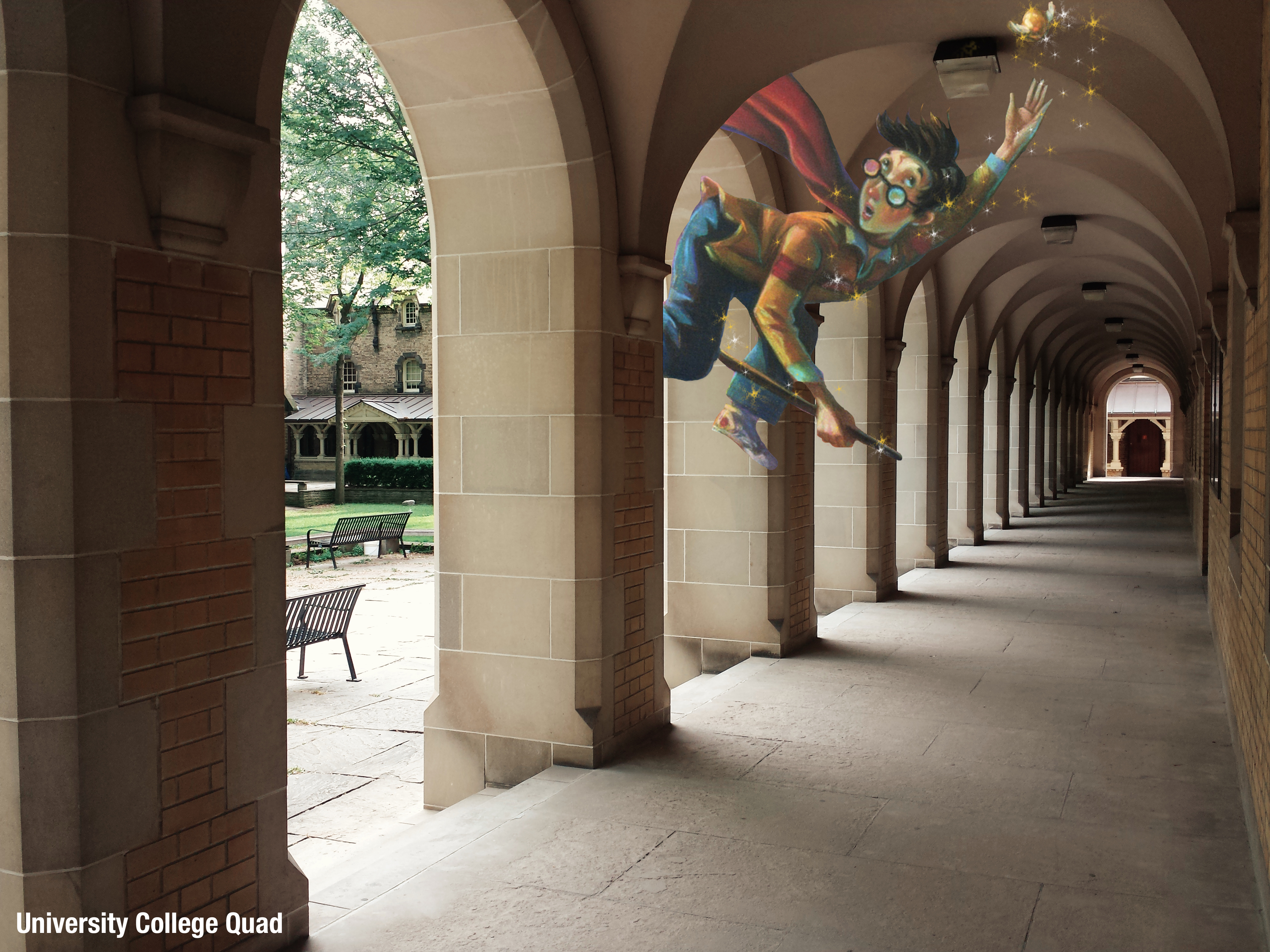 The arched corridor in the UC quad. Cartoon Harry Potter is flying under an arch trying to catch the Snitch.