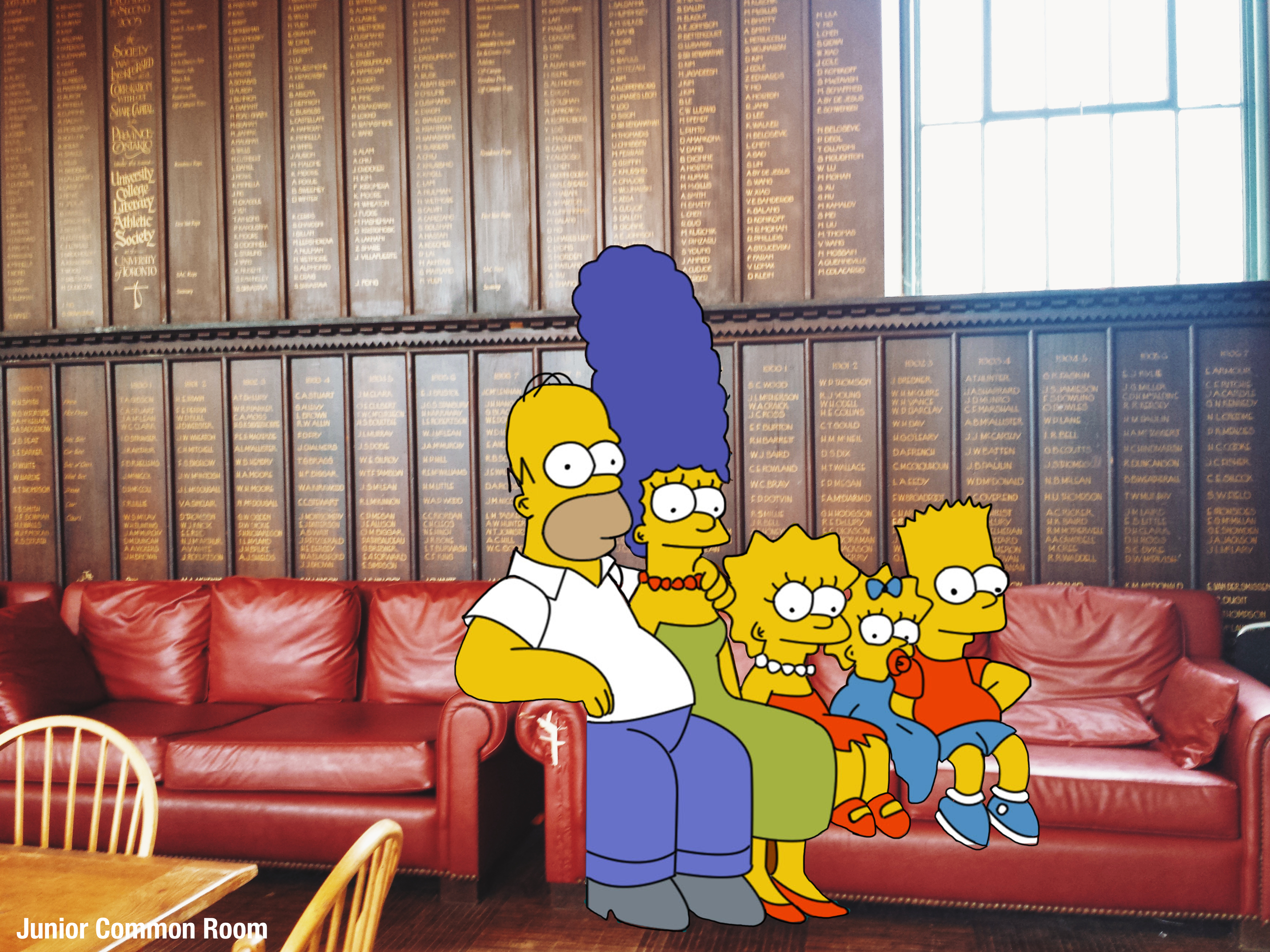 The Simpson Family have left their iconic sofa in favour of the sinfully comfy ones in the JCR.
