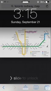 iPhone screenshot of wallpaper with TTC map on it