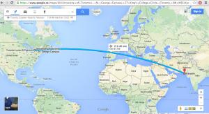 google map showing distance between karachi, pakistan and toronto