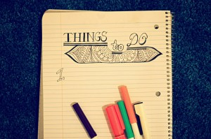 My intricately doodled things to do list