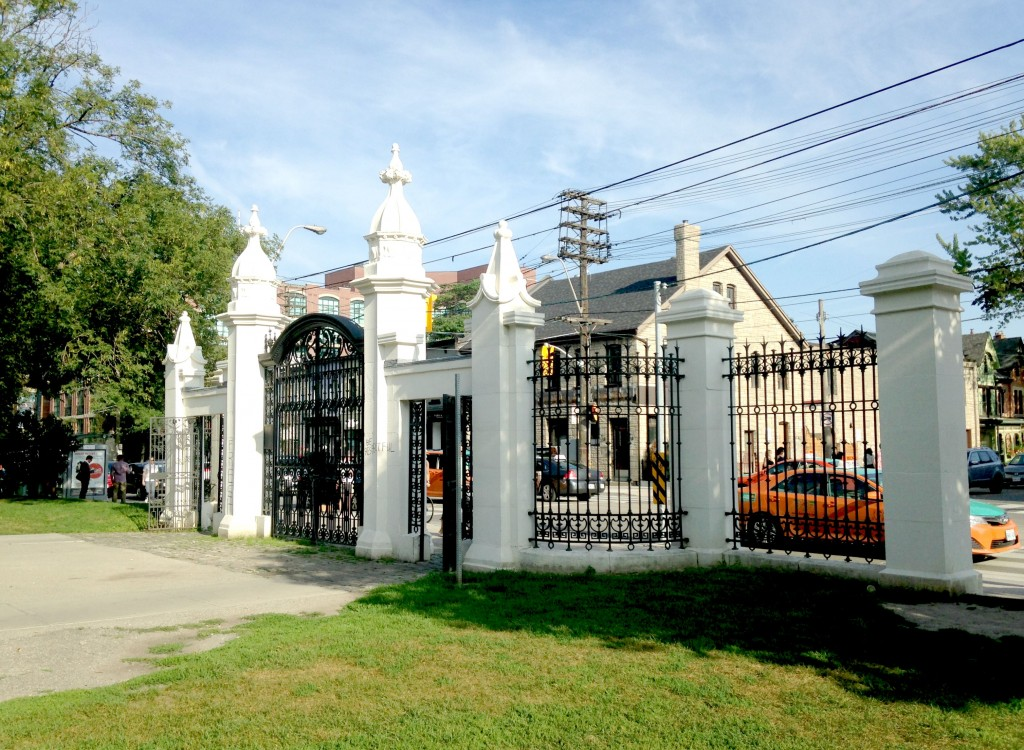 wrought iron gates at the entrance of the Park