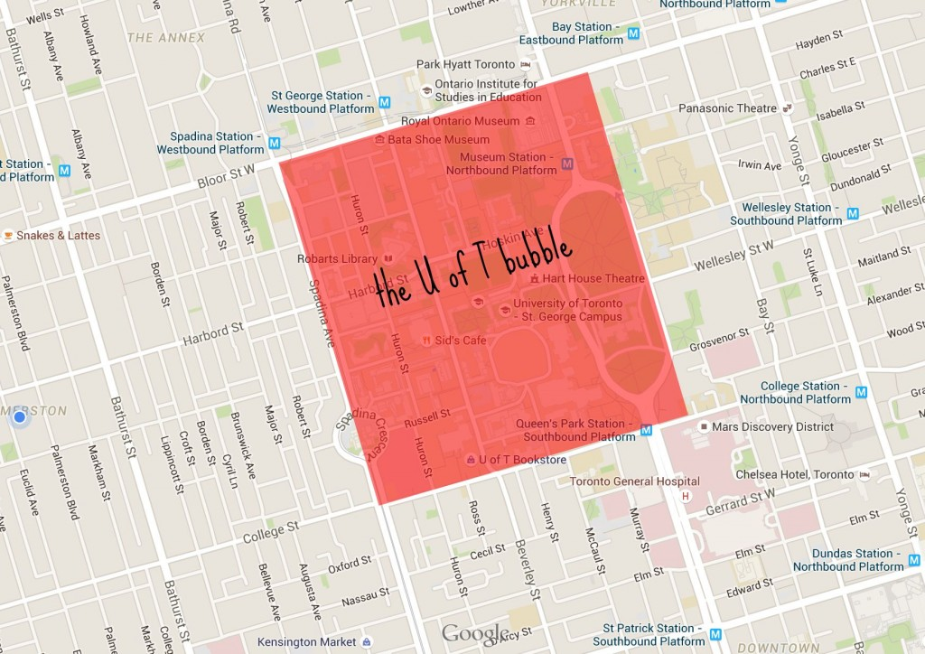 screen cap of a map of toronto with the area between bloor, college, spadina, and university highlighted