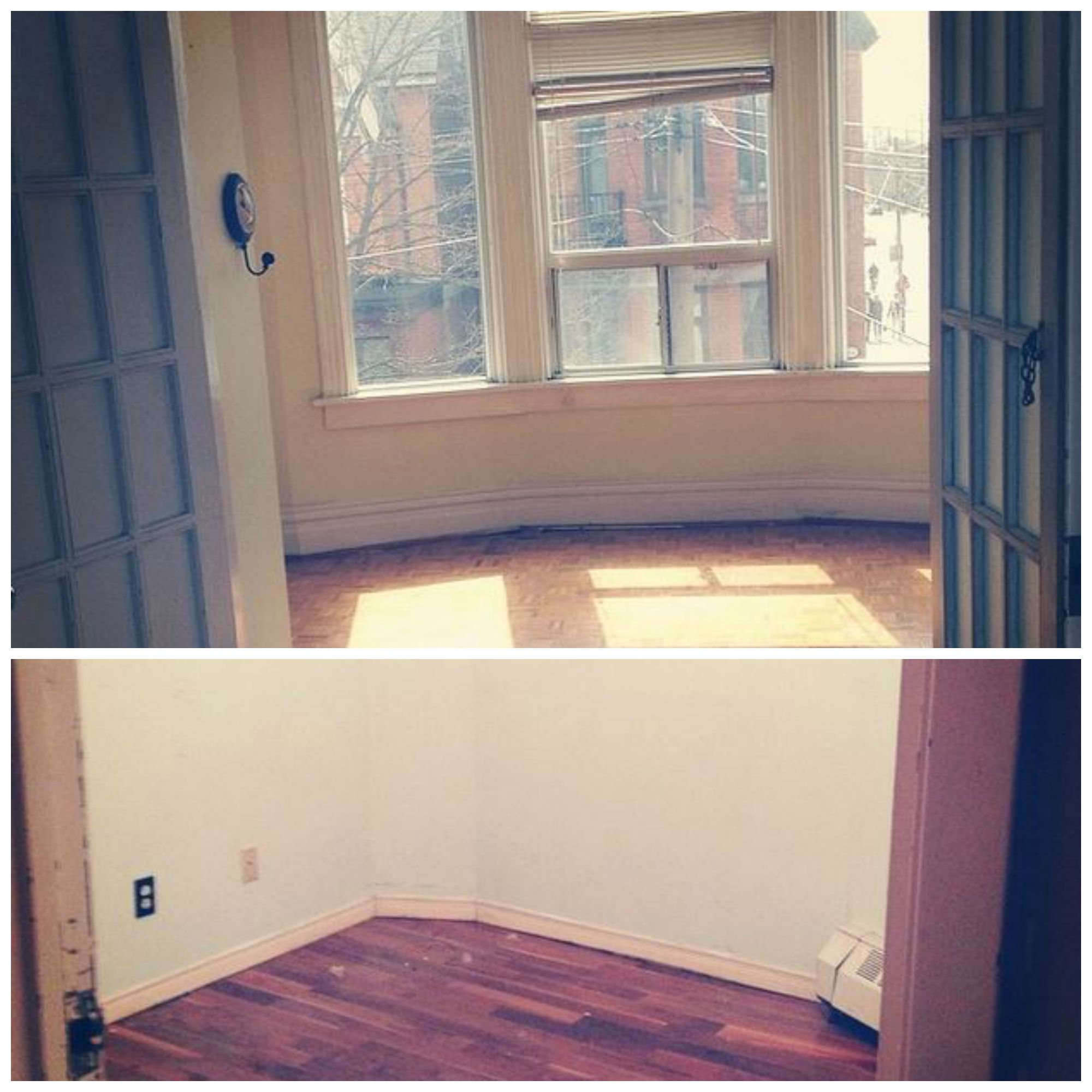 A collage with pictures of my two last bedrooms, empty after I packed them up.