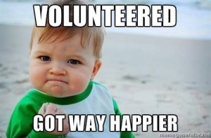a meme photo of a determined baby with the caption 'volunteered, got way happier'